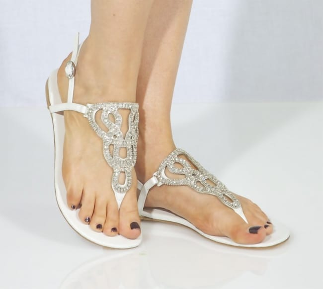 Trendy Flat Bridal Shoes Sandals Ideas 2016
