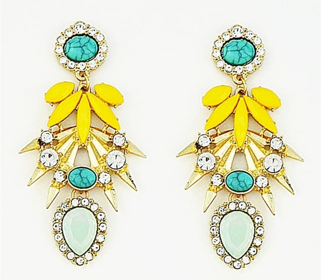 Trendy Yellow Chandelier Crystal Drop Earrings