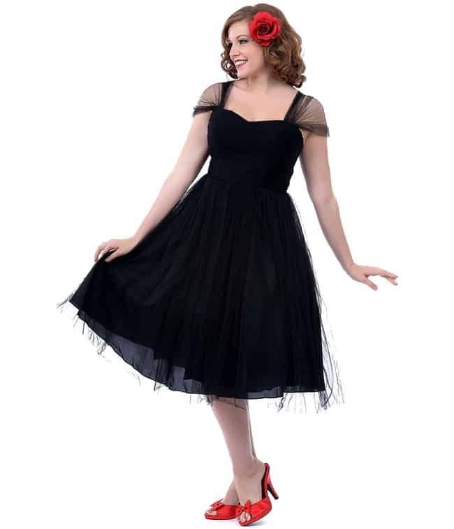 Vintage Black Cocktail Dress for Evening Party
