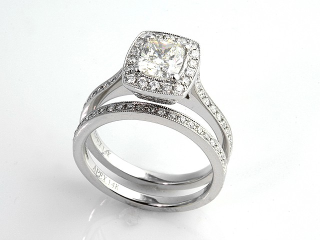 Wedding Square Cushion Cut Halo Engagement Rings