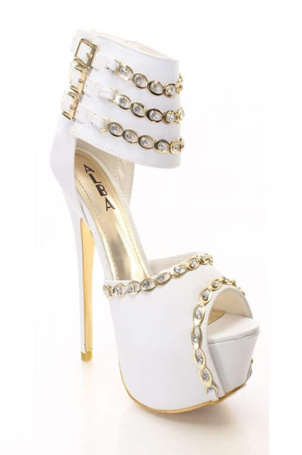 Wedding White and Gold Prom Shoes