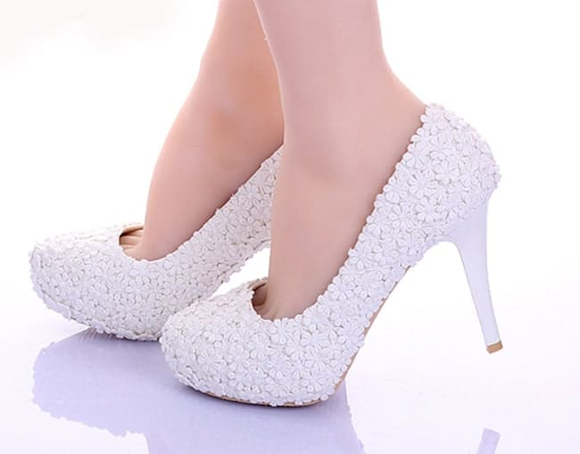 White Lace Flower Formal Dress Shoes