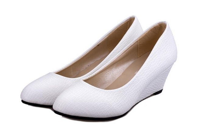 Women's White Leather Wedges Shoes 2016