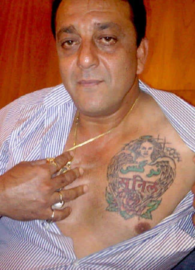 Wonderful Sanjay Dutt Tattoo on Chest 2016