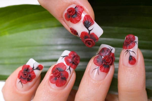 3D Red Flowers Nail Art Designs