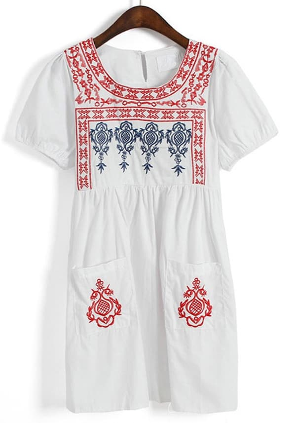 Awesome Embroidered White Dress for Girls