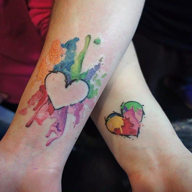 Awesome Heart Shaped Relationship Tattoo Art