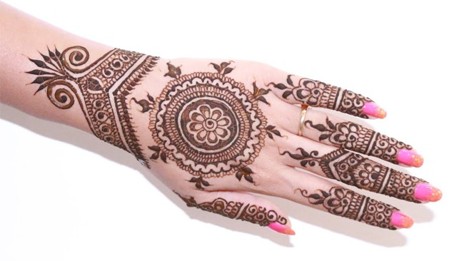 Back Hand Bridal Henna Design 2016