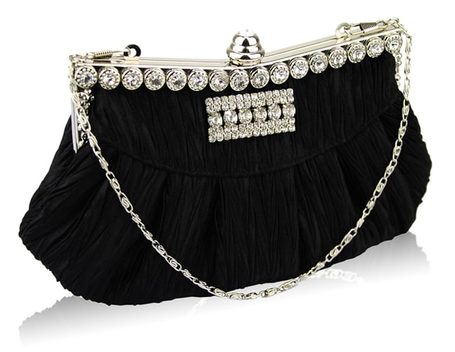 Black Crystals Wedding Clutch Bag for Women