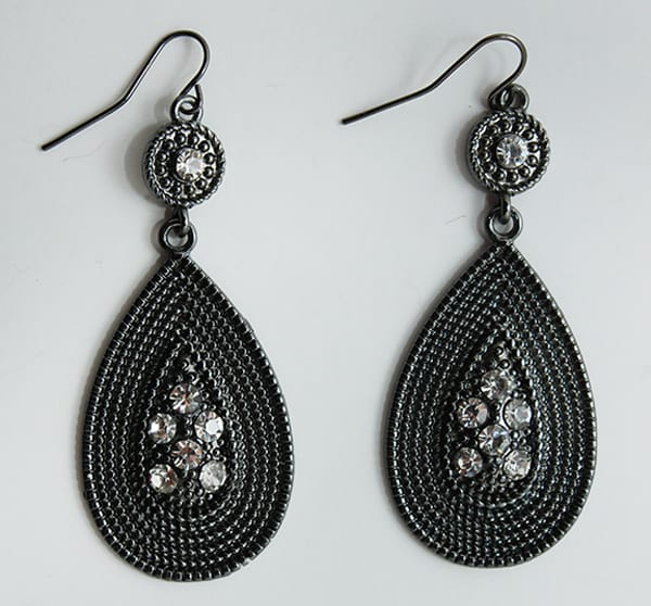 Black Metal and Rhinestone Earrings for Women