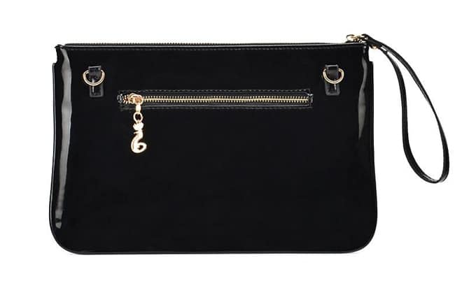 Black Patent Leather Clutch Bag for Ladies