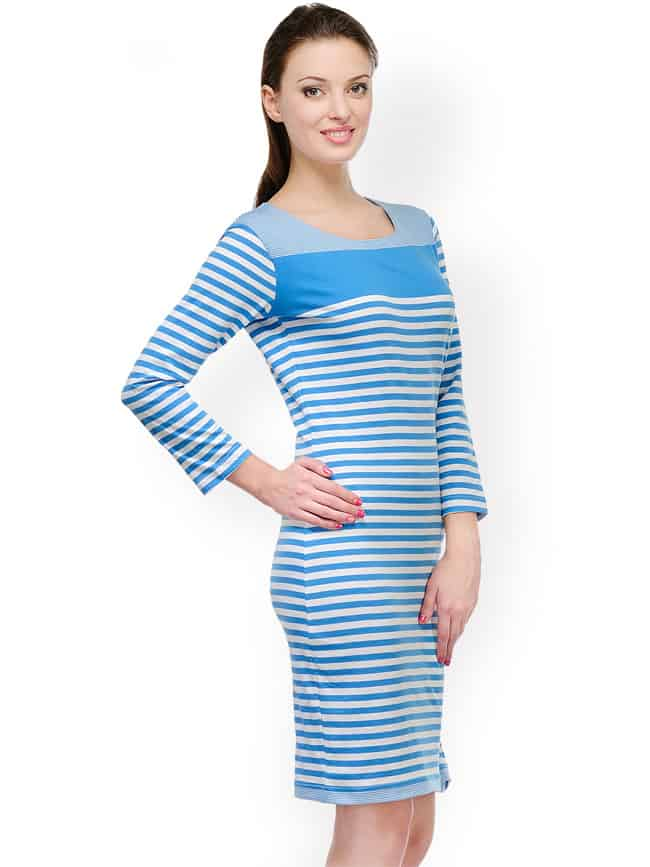 Blue and White Striped Cocktail Dress