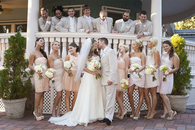 Blush Bridesmaid Wedding Dresses with Groomsmen