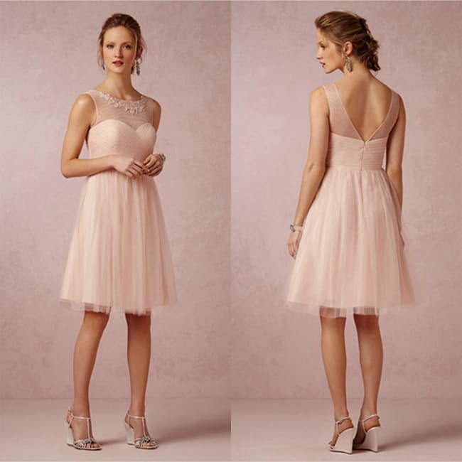 Blush Crew Neck Bridesmaid Knee Length Dress