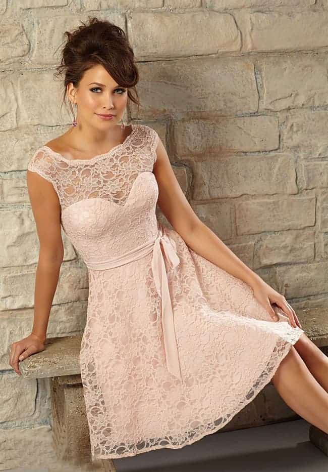 Blush Pink Lace Bridesmaid Dress for Party