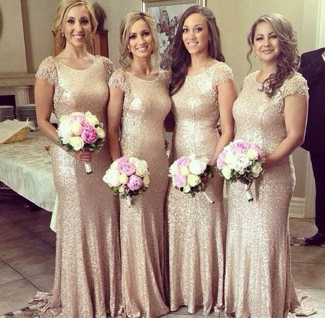 Blush and Gold Bridesmaid Dress Designs 2016-17