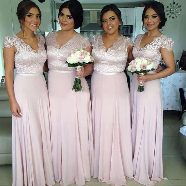 Chiffon Blush Pink Bridesmaid Summer Dresses