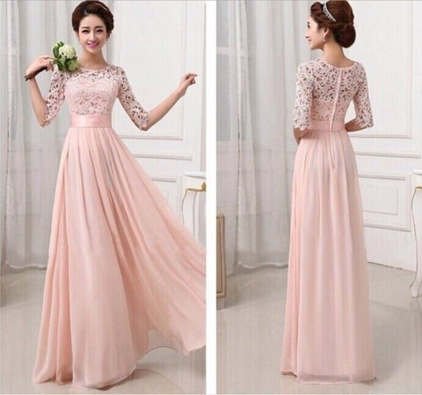 Cool Blush Bridesmaid Dress With Sleeves