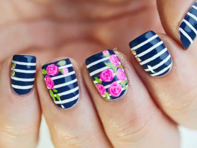 Cool Flower Nail Art Design for Women