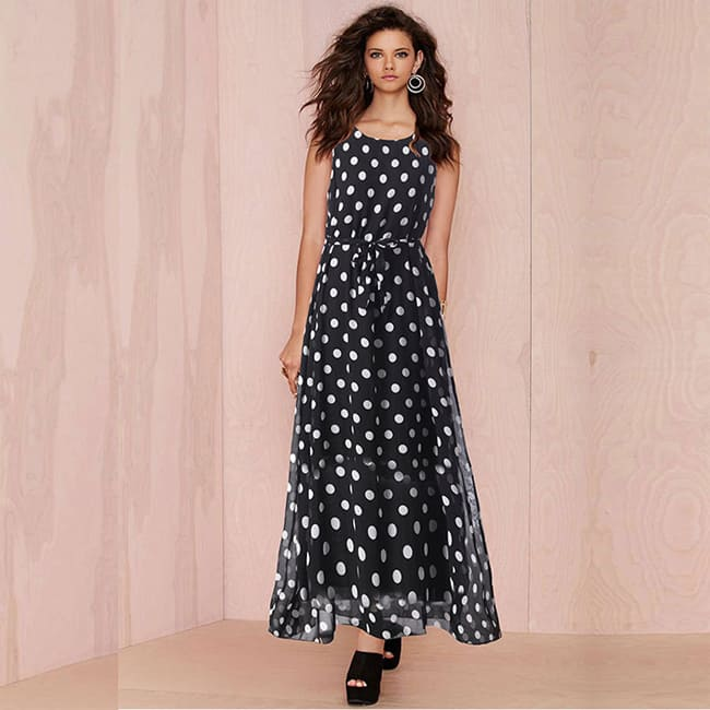 Cool Polka Dot Print Flower Sundresses