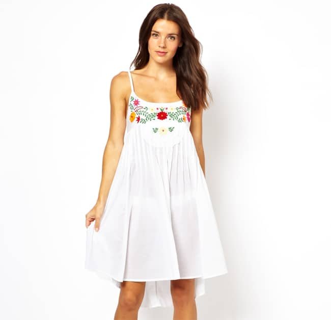 Cool White Embroidered Dress for Summer