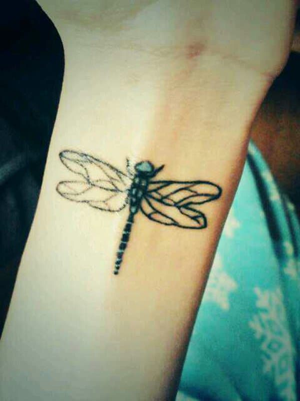 Creative Dragonfly Tattoo on Wrist 2016