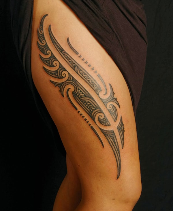 20 excellent maori tattoo designs for inspiration sheideas for Polynesian thigh tattoo