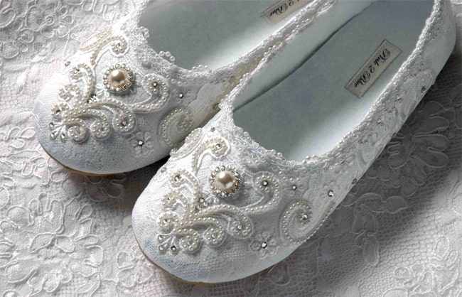 Crystals and Pearls Flat Wedding Footwear