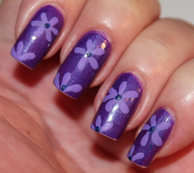 Cute Flower Print Nail Art for Acrylic Nails