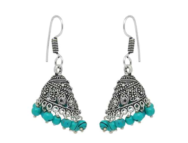 Elegant Ferozi Beads Metal Jumka Earrings