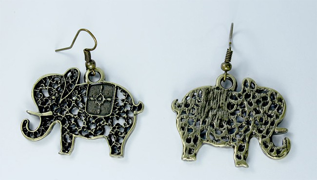 Elephant Shaped Metal Drop Earrings