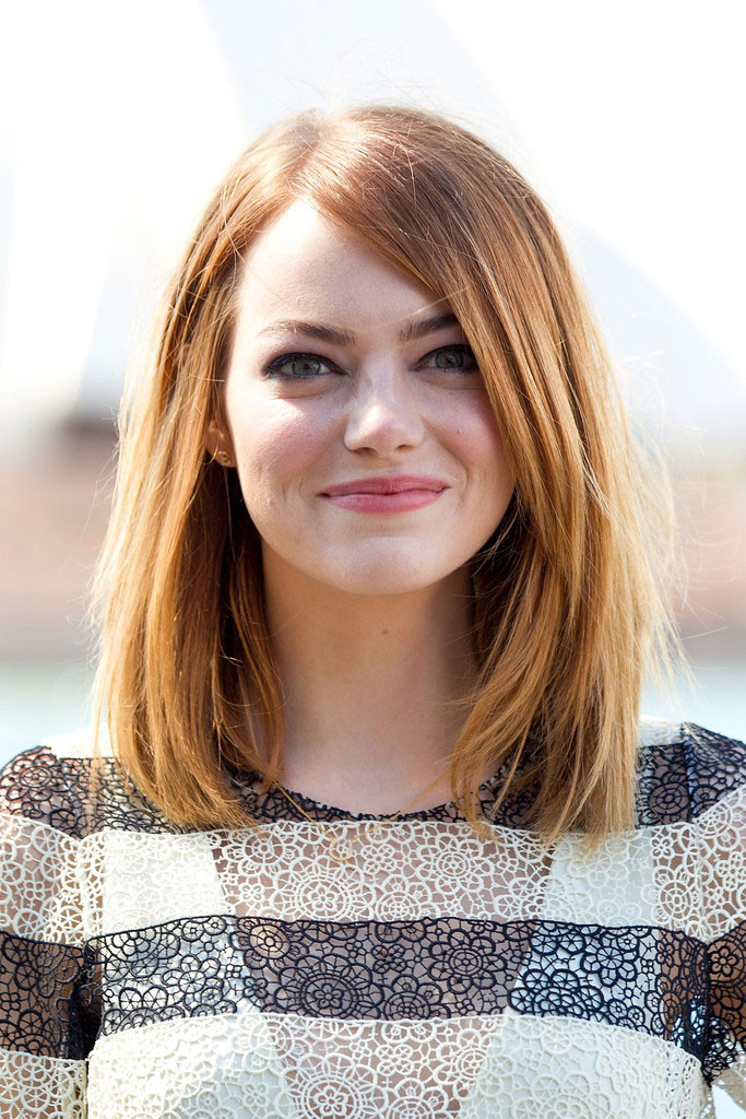 Emma Stone Shoulder Length Bob Hairstyles 2016