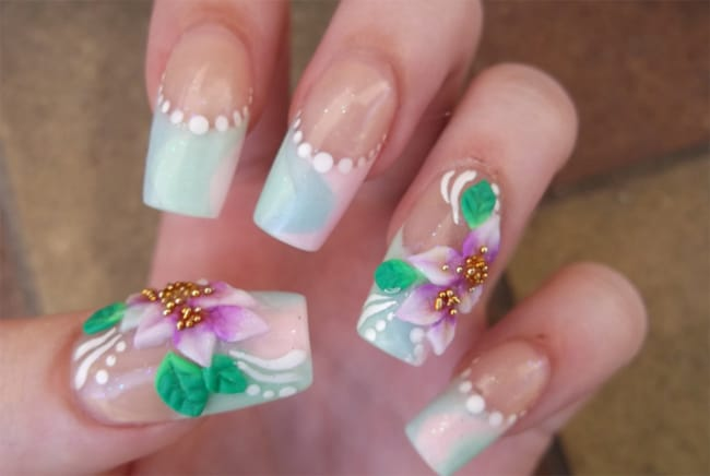 Fantastic 3D Flowers Nails Designs