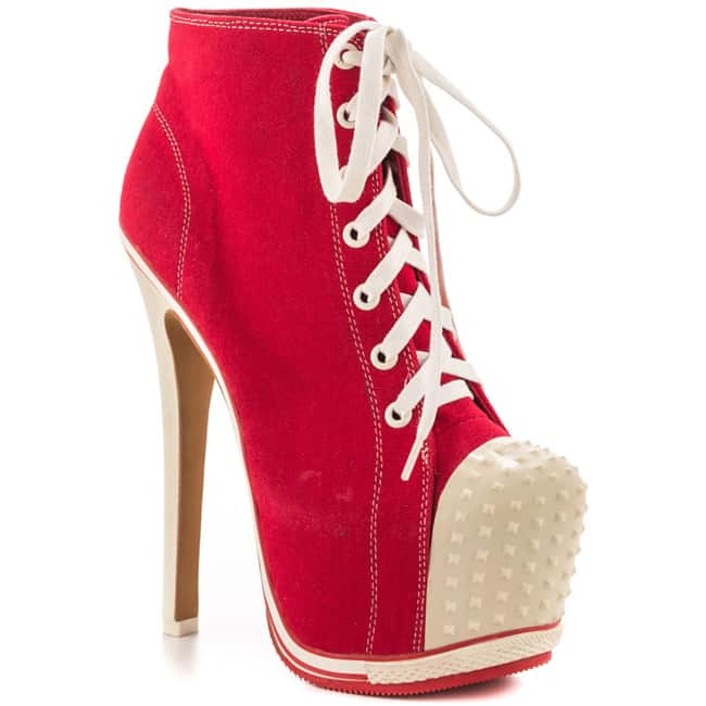 Fantastic Red Sneaker High Heels for Ladies
