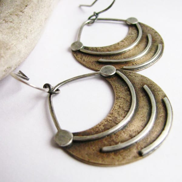 Fertile Crescent Metal Ethnic Earrings