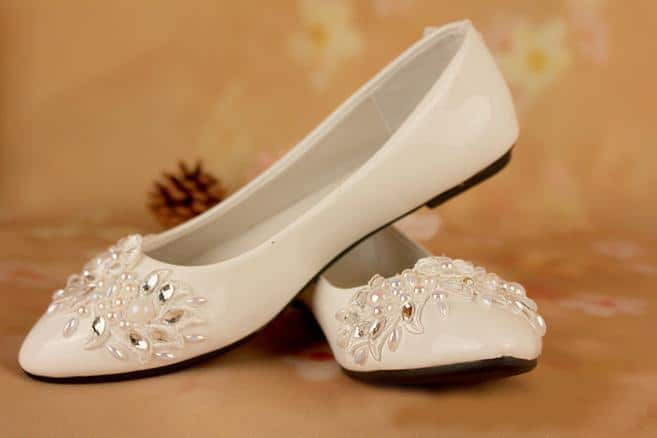 Flat Ivory Wedding Shoes for Bride 2016-17