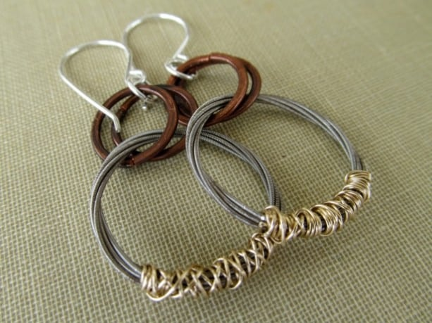 Guitar String Hoop Dangle Earring Designs