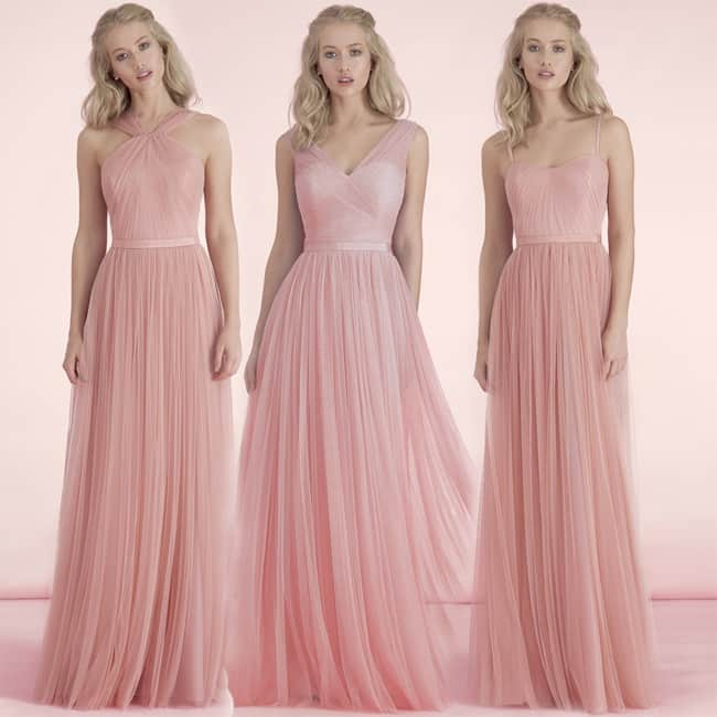 Hanging Neck Chiffon Blush Bridesmaid Dresses