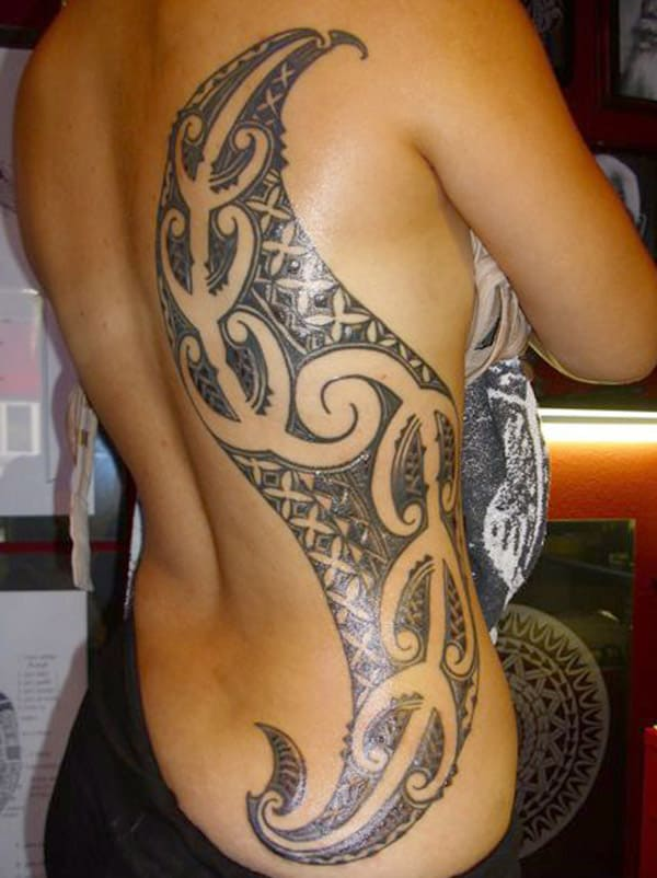 Hawaiian Maori Tattoo Design on Side Rib