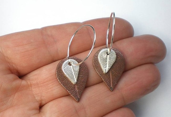 Ladies Metal Leaf Earrings for Wedding