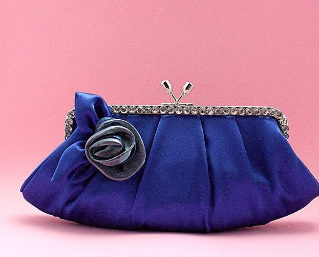 Ladies Sapphire Blue Satin Flower Handbags