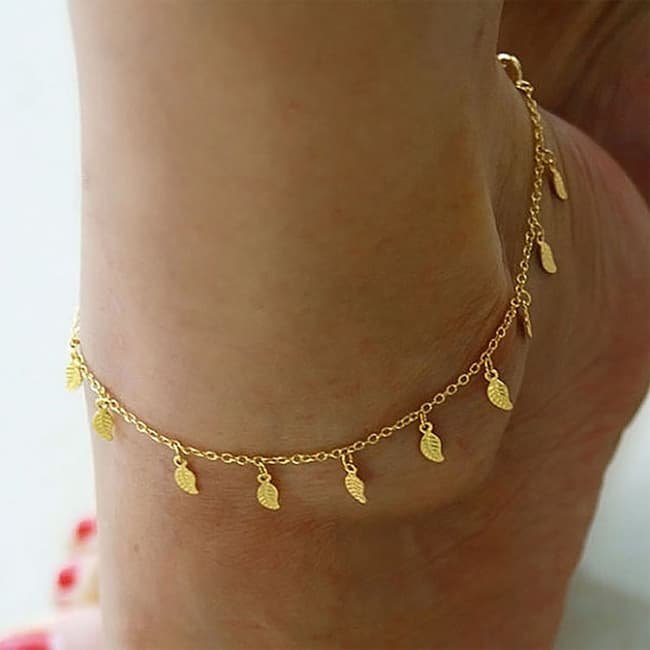 Leaf Shaped Gold Anklet Bracelet Ideas