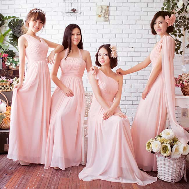 Long Blush Pink Bridesmaids Dresses