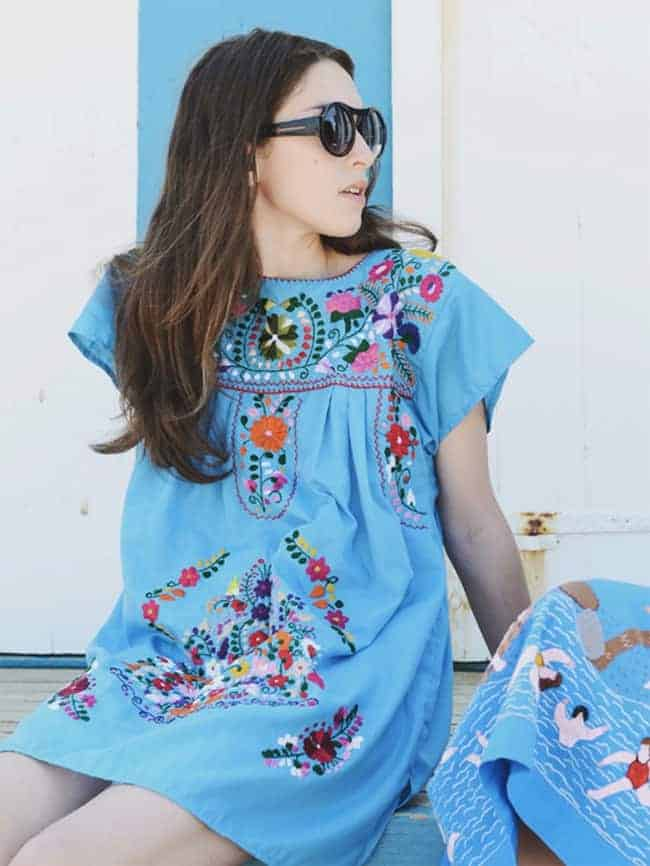 Mexican Embroidered Cotton Shift Dress for Beach