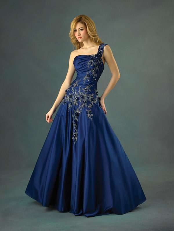 Navy Blue One Shoulder Floor Length Dresses