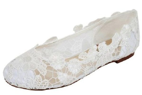 flat lace bridal shoes - photo #7