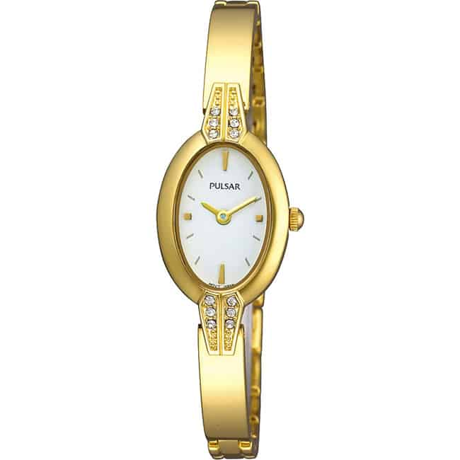 New Gold Tone Oval Stone Inset Watch Trends
