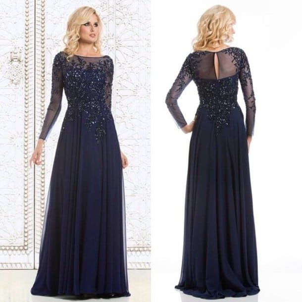 Outstanding Dark Blue Prom Dress With Sleeves