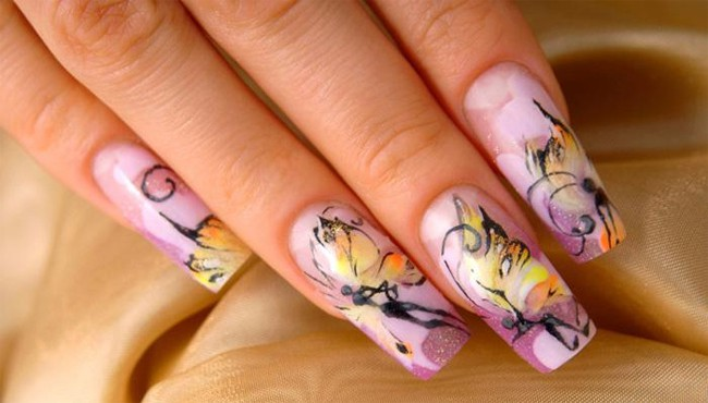 Outstanding Lavender Butterfly Nail Designs