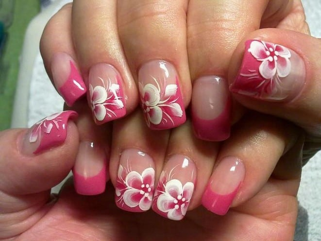 Pink and White Flower Nail Art Ideas